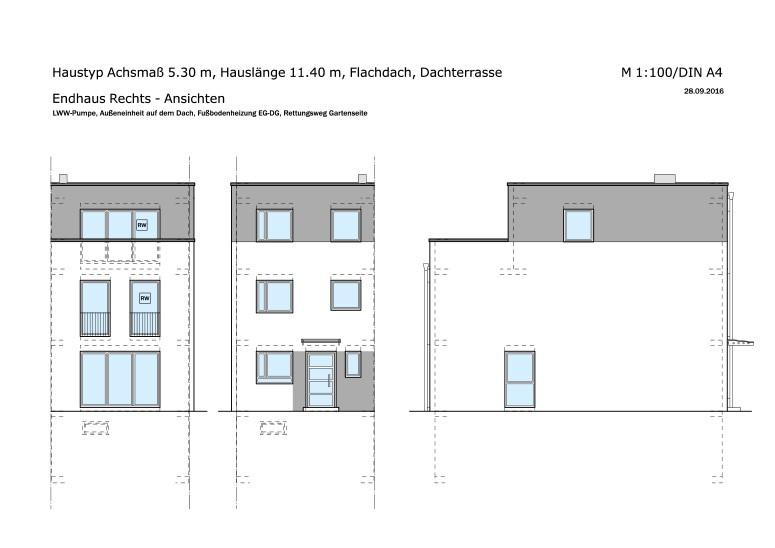 Muster-Endhaus-Rechts-Ansichten