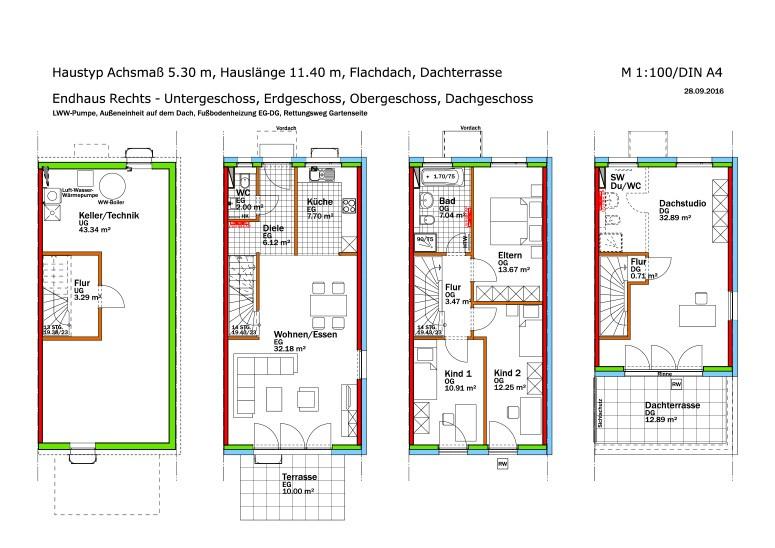 Muster-Endhaus-Rechts-Grundrisse